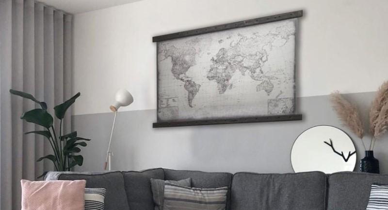 Mappa del mondo grigio